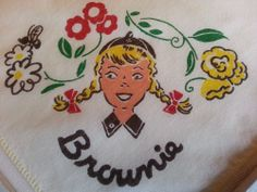 Vintage Children's Cute Brownie Girl Scout Hankie Handkerchief