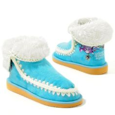 Fabulous Turquoise Moccasin  and White Cuffs and Stitching. Decorated by Ed Hardy