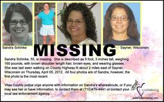 Sandra Schinke is still missing from Wisconsin, please repin to get her picture in front of as many people as possible.  Thank you!