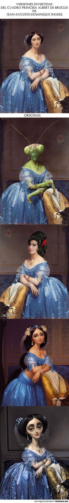 Versiones divertidas del cuadro Princesa Albert de Broglie de Jean-Auguste-Dominique Ingres.
