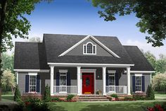 House Plan 21-365 1653 sq ft with garage in back and all other features we want/need. Love the farmhouse look too!