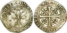 Gros à la fleur de lis dit patte d'oie sous Jean II le Bon