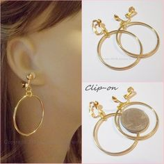 Clip On 1 2 Gold Plated Plain Thin Hoop Non Pierced Earrings B201