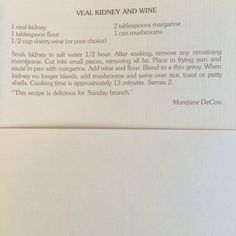Veal Kidney and Wine
