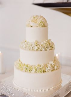 white buttercream cake with hydrangea accents
