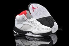 check out b0f86 1e2d6 Buy Nike Air Jordan 5 Kids White Black Fire Red