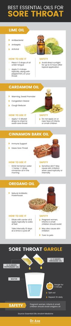 Suffering from a sore throat? These essential oils can help. Click to find effective essential oils a sore throat, the flu and other winter ailments.
