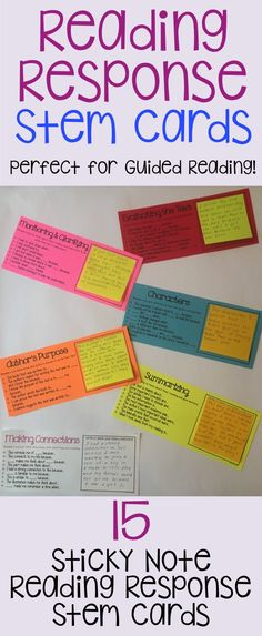 15 sticky note reading response stem cards! Covers many reading skills/strategies!