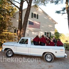 #rustic wedding #fall wedding #outdoor wedding The bridal party rode to the ceremony in a pickup truck.