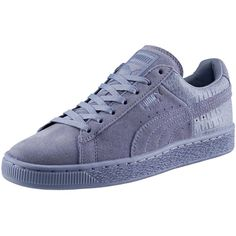 Puma Suede Classic Emboss Women's Sneakers ($70) ❤ liked on Polyvore featuring shoes, sneakers, tempest, lace up sneakers, puma trainers, lace up shoes, suede shoes and laced shoes