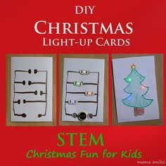DIY Light-up Christmas cards are easy make, and a great introduction to STEM circuits engineering for your kids! Such a clever gift kids can make!