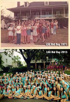 LSU DGs, then and now! Same house...look how much the trees have grown!