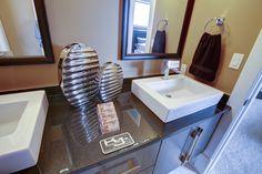 Quartz washroom countertop with square sinks
