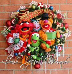 Custom Magnificent Muppets Merry Merry Christmas Wreath, for Joan, made by Irish Girl's Wreaths