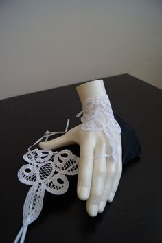 White  Grandeur luxury Wedding Gloves Lace by SpecialFabrics