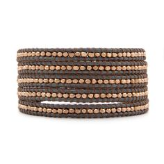 Rose Gold Wrap Bracelet with Taupe Thread on Gray Leather by Chan Luu