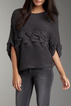 Sideways knit sweater--with central cable detail.