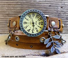 Rustic Leather watch, women's watch, Antiqued watch, Leather bracelet, Wrap watch with leaf charm and chain