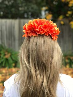 Bright orange Dahlia Flower crown perfect for a hens party, the races or a baby shower.