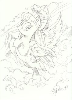 #1421097 - absurd res, angel wings, artist:andypriceart, babscon 2017, bow, flying, hair bow, looking at you, monochrome, mountain, pegasus, pencil drawing, pony, safe, solo, spread wings, traditional art, wings - Derpibooru - My Little Pony: Friendship is Magic Imageboard