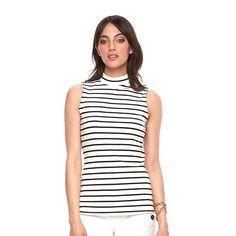 Women's ELLE Striped Mockneck Top
