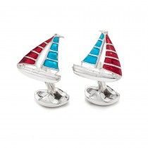 Deakin & Francis Yacht Cufflinks in Red and Blue