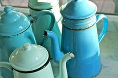 Vintage French Enamel Coffeepot by WellCookedLife on Etsy