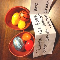 Cute idea - put a quote and some candy in an egg - Easter package. I put a basketball quote in each of the basketball eggs Basketball Wedding, Basketball Cheers, Basketball Quotes, Love And Basketball, Sports Basketball, Women's Basketball, Team Quotes, Sport Quotes, Cute Snacks