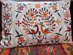Vintage kussenslopen met 100% biokatoen kussen Shams, kussen Cover, Boho, Set van 2, Creme, Hand geborduurde decoratieve Peacock motief