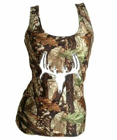 Deer Skull White On Huntress Camo Tank Top