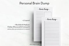 Brain Dump • Personal Planner Inserts • Stream of Consciousness • To Do List • Personal Printable Inserts • Brain Dump Printable • kikki k