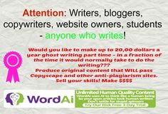 Writing software GUARANTEED to have you witing QYALITY articles on ANY SYBJECT in a fraction of the TIME!!!!  #makemoneywriting