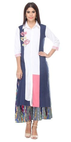 Vibrant White Cotton Long Kurti With Plazzo Pant.