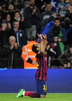 FC Barcelona's Neymar, from Brazil, reacts after scoring against Rayo Vallecano during a Spanish La Liga soccer match at the Camp Nou st...