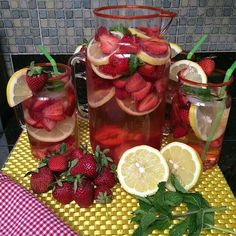 Strawberry, Lemon, Mint flavored water. Just slice up the strawberries  lemons; add a few mint leaves, ice  water and voila!