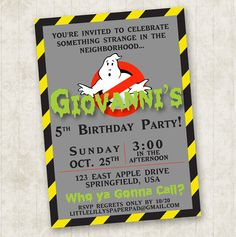 Ghostbusters Birthday Invitation                                                                                                                                                      More