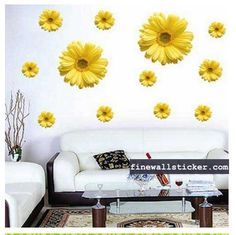 Yellow Daisies With Different Size Wall Sticker - Flower Wall Stickers Yellow Daisies, Yellow Sunflower, Promotional Stickers, Removable Wall Stickers, Flower Wall Stickers, Big Flowers, Daisy, Interior Design, House