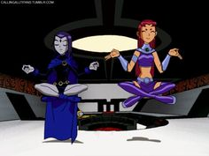 teen titans, in this episode, Raven and Starfire have their minds switched, and they have to learn how to use each others' super powers.