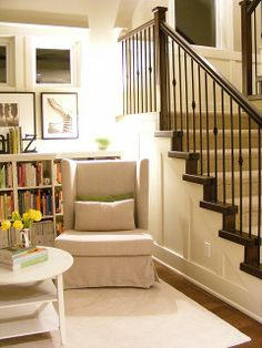 Reading nook. So cute..looks like you could find space for this anywhere. Like the light coming from behind the chair