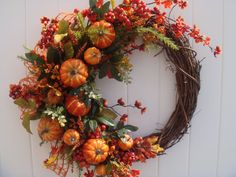 Fall wreath, autumn wreath, front door wreath, door wreath, wreath, pumpkin wreath on Etsy, $89.00