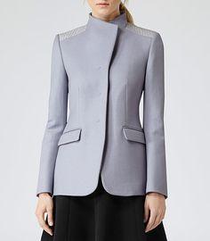 Womens Lavender Mist Contrast Shoulder Jacket - Reiss Ferro