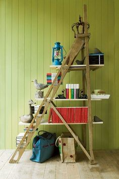 Ladder into Shelving Repurpose Ideas
