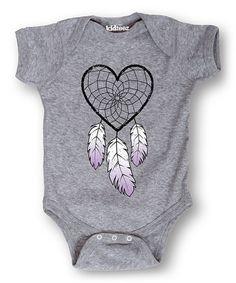Heather Gray Dream Catcher Heart Bodysuit - Infant #zulily #zulilyfinds