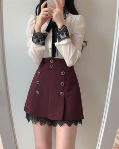 A-line skirt pants. Soft cotton with button details. Wine and Black Cute Skirt Outfits, Girly Outfits, Classy Outfits, Pretty Outfits, Korean Outfit Street Styles, Korean Street Fashion, Casual College Outfits, Modern Outfits, Red And Black Outfits