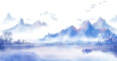 Chinese Ink Painting Mountains And Rivers Simple Atmospheric Style Poster Background Chinese Landscape, Summer Landscape, City Landscape, Mountain Landscape, Landscape Background, Paint Background, Background Images, Watercolor Landscape, Landscape Paintings