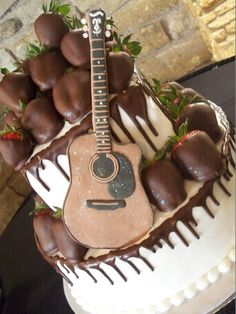 Guitar Chocolate Drizzle over White Frost Music