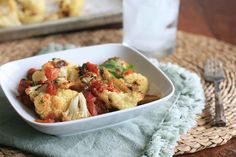 Roasted Cauliflower with Spicy Tomato Sauce Shared on http://www.facebook.com/LowCarbZen