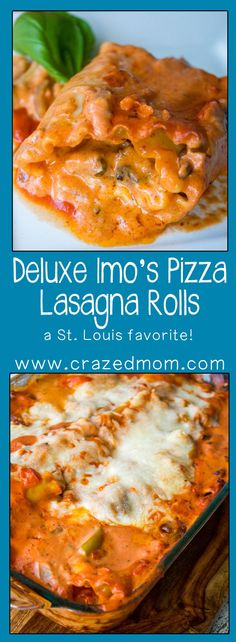 St. Louis Style Pizza in a Pasta: Deluxe Imo's Pizza Lasagna Rolls #SundaySupper