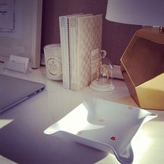 """The Everygirl """"How to Style"""" feature. @westelm desk @biscuithome tray @thelandofnod lamp - @theeverygirl_- #webstagram"""