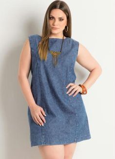 Vestido Tubinho Jeans Plus Size - Posthaus